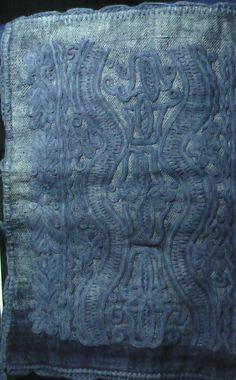 indigo dyed Hungarian írásos: written embroidery