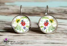 Glass cabochon Earring Meadow Earrings Dangle Earrings Floral Jewelry Flower Jewellry Ladybug by Pinturicon on Etsy