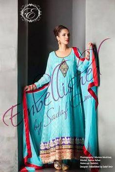 Embellished By Sadaf Amir Spring Dresses 2014 For Women 0010 Dresses 2014, Spring Dresses, Hijab Fashion, Sari, Stylish, Women, Saree, Hijab Fashion Style, Spring Outfits