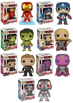 Amazon.com: Funko Pop! Marvel: Avengers Age of Ultron Full Set of 7 Vinyl Figures (Iron Man, Captain America, Hulk, Thor, Hawkeye, Vision & Ultron): Toys & Games