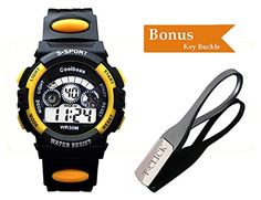 BoZZ Sport Watch Multifunction 7-Color Led Light Digital Waterproof Wrist Watch (Yellow,3~10 Years Old) Reviews