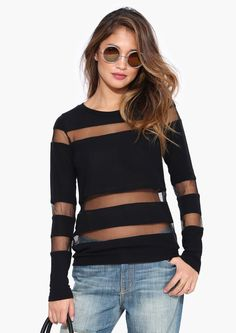 Mesh Sweater in Black   Necessary Clothing