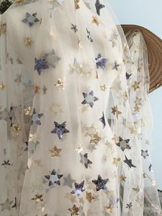 1 yard Exquisite Sequined Tulle Lace Fabric ,Star Floral Embroidery Metallic Bridal Gown Lace Fabric by Yard in Champagne Gray _ {categoryName} - AliExpress Mobile Version - Beaded Lace Fabric, Bridal Lace Fabric, Tulle Lace, Lace Applique, Floral Embroidery, Embroidery Fabric, Fabric Stars, Thing 1, Lace Weddings