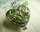 Worry Locket - peridot gemstones in heart locket sterling silver necklace