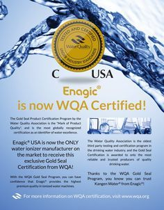 Were you aware that ONLY Enagic has full WQA certification? Don't be fooled when other makers tout WQA papers (they very often only apply to lead-free certification). How can one ignore certificates after certificates when it comes to water machines? Kangen water might be seem expensive, but the machine has all the certificates, last 15-20 yrs, saves you 1000$+ every yr & creates a healthy environment for your body & home.