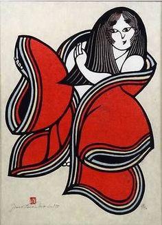 Japanese Woodblock Stencil Print, Yoshitoshi Mori, Girl in Red Kimono Japanese Prints, Japanese Art, Stencil Printing, Girl Reading, Mori Girl, Inspiring Art, Woodblock Print, Asian Art, Printmaking