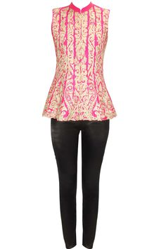 Pink zari embroidered peplum jacket with black stretch satin pants available only at Pernia's Pop Up Shop. Indian Dresses, Indian Outfits, Anarkali Kurti, Saree, Indian Colours, Ethnic Chic, Peplum Jacket, Stretch Satin, Western Outfits