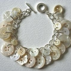 charm button bracelet - I'm making this now with vintage buttons from my great grandma's collection! Beaded Jewelry, Jewelry Bracelets, Handmade Jewelry, Bracelets Crafts, Gold Jewelry, Diamond Bracelets, Gothic Jewelry, Jewelry Accessories, Jewelry Design