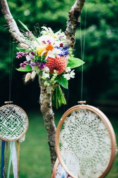 Bright boho wedding bouquet with dahlias - Image by Lucy Turnbull - Wild West Themed Wedding Inspiration At Cornish Tipi Weddings In Cornwall With Styling By Inspire Hire Flowers By Loulabel Floral Design And Accessories From Sarah Drew And Holly Young Images By Lucy Turnbull