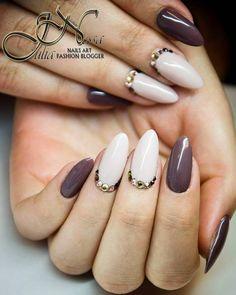 """""""#brown#nude#nails#swarovski#manicure#hybryda#paznokcie#beżowe#brazowe#cyrkonie"""""""