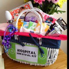 Hospital Survival Kit... I made this for my expecting sister for her baby shower :-)