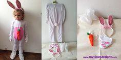 Disfraz de conejo completo My Violet :D, enterito con panza, zapatos, orejas, mitones y zanahoria. myvioletdesigns.com