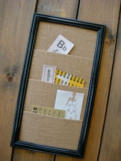 Burlap organizer. I think I will make one of these, but I'm going to add hooks to the bottom of the frame to hang keys on too