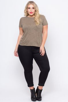 """This plus size, stretch jersey knit tee features a crew neckline, short sleeves, an all destroyed design, and a chest pocket. Content + Care - 100% Cotton - Machine Wash Cold Model Measurement - Wearing a Size 1X - Height: 5'11"""" - Bust: 42"""" - Waist: 35"""" - Hip: 50"""" - Inseam: 29"""""""