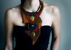 Oversized tribal ethnic necklace collar large #RasaVilJewelry #designer #brown #fashionable #beadwork #largenecklace #bold #trendy #beaded #handmade #style #fancy #chic