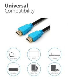 High Speed HDMI Cable with Ethernet HDMI to HDMICompatibility, FULL HD,2160p, LCD, PLASMA & LED TV's, 3D TVS, Dolby TrueHD