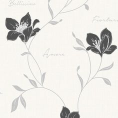 Buy Mischa Floral Wallpaper Black / Silver by Fine Decor from our Wallpaper range - Black/Charcoal, Floral - @ I Love Wallpaper stock a wide range of wallpaper including an extensive collection of fashionable wallpapers. Free UK Delivery on orders over 50 Wallpaper Uk, Black Silver, Floral Prints, Delicate, Teal, Texture, Pattern, Lounge, Ink