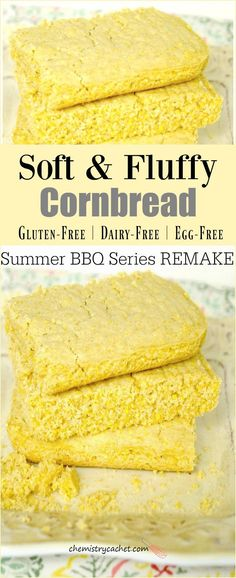 This Dairy-Free Gluten-Free Cornbread is the perfect addition to your summer BBQ! Plus it is also egg-free so it's very allergy friendly! Dairy-Free Gluten-Free Cornbread - Dairy-Free Gluten-Free Cornbread recipe that is perfectly soft and fluffy… Gluten Free Bagels, Gluten Free Baking, Gluten Free Desserts, Vegan Baking, Sin Gluten, Sans Gluten Sans Lactose, Egg Free Recipes, Allergy Free Recipes, Bread Recipes