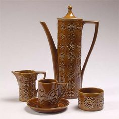 Somayaki Soma Ware Japan Double Wall Teapot Amp 5 Cups Set