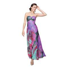 Ever Pretty Floral Print Chiffon Strapless Rhinestones Ruffles Formal Dress 09822 | Love yourself