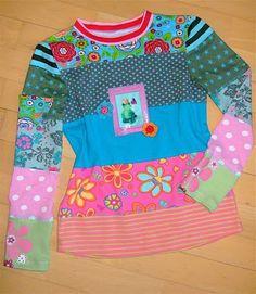 Restemixshirt (Anregung kein Schnittmuster)  http://beatesbunterblog.blogspot.de/2011/02/reste-mix-shirt.html