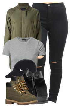 """""""I thought we was down like stocking caps and waves"""" by cheerstostyle ❤ liked on Polyvore featuring Kai-aakmann, New Look, NIKE, H&M and Timberland"""