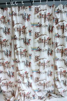 SALE Vintage 1950s Fabric // The Old West // by TrueValueVintage