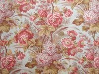 Antique French botanical fabric 19th century ~ soft faded beautiful tones ~