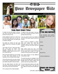 A Front Page For An Anniversary Newspaper  Customizable Can