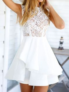 COLOR:White DETAIL:Lace MATERIAL: 100% polyester NECKLINE:round neck SLEEVE LENGTH:sleeveless PATTERN TYPE:plain SILHOUETTE:skater Size Availables: S:Shoulder:36cm,;Bust:84cm,;Waist:68cm,;Length:80cm