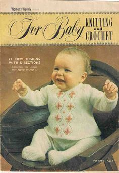 Baby knits, babies knitting patterns, Australian Women's Weekly For Baby Knitting and Crochet, 1970s 70s seventies baby knitting, vintage by Rethreading on Etsy