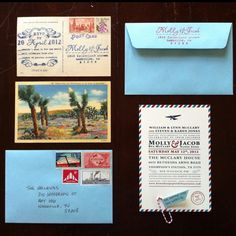 Airmail travel themed wedding invitations. I love the postcard response card!