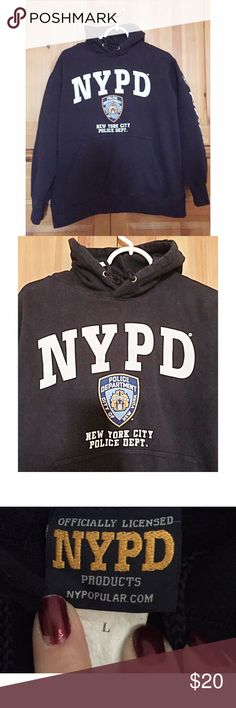 NWOT Kids Licenced NYPD Police Dept Hoodie, sz L This hoodie is new. My son forgot it in the back of his closet. Very nice quality garment and warm too. Pull over style. Background is dark blue. Back is plain. Shirts & Tops Sweatshirts & Hoodies