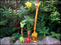 Colourful giraffes