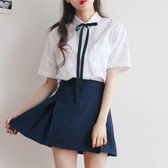 a s i a n outfit / i n s p i r a t i o n s Preppy Outfits, Korean Outfits, Skirt Outfits, Cute Outfits, Cute Fashion, Girl Fashion, Vintage Fashion, Fashion Outfits, Korean Fashion Trends