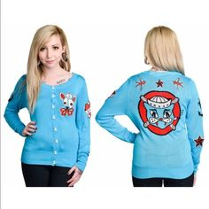Too Fast Rockabilly blue sweater Nice sweater for fall Sweaters