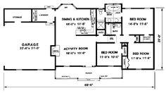 1300 sqft First Floor Plan of Ranch House Plan 94801   Floor Plans ...