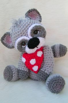 Raccoon Crochet Pattern PDF Format Teri Crews by WoolandWhims, $4.95