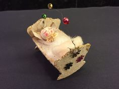 Vintage Spun Cotton & Mica Glitter Angel Baby in Cradle Christmas Ornament