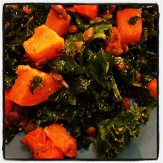 Kale Salad with Butternut Squash and Lentils from our November VegCookbook, Isa Does It.