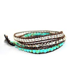 Take a look at the Turquoise & Silver Beaded 3 Wrap Leather Bracelet on #zulily today!