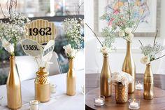 bodas de ouro decoracao dourada 50th Birthday Party Decorations, Wedding Decorations, Birthday Parties, Table Decorations, Bride, Bottle, Home Decor, Mandala, Daddy