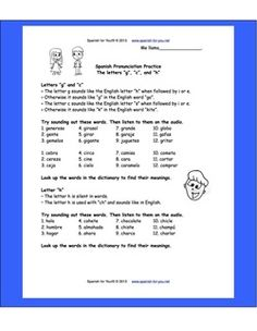 FREE SPANISH PRONUNCIATON WORKSHEET PLUS AUDIO http://www.spanish-for-you.net/blog/free-pronunciation-practice-worksheet