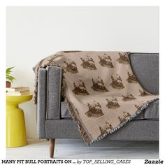MANY PIT BULL PORTRAITS ON TAN WARM THROW BLANKET