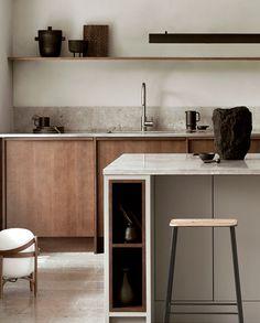dark wood cabinets, high back splash