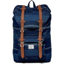 Herschel Supply Co. Little America Backpack (€49) ❤ liked on Polyvore featuring bags, backpacks, poly navy fouta, herschel supply co backpack, leather knapsack, leather zipper backpack, leather zip backpack and day pack backpack