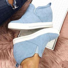 cff2890d1 Letter Slip On Faux Suede Wedge Heel Sneakers