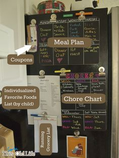 (sorta) Old Life: Command center. Add chore chart to each kids wall and art space.This (sorta) Old Life: Command center. Add chore chart to each kids wall and art space. Parent Command Center, Command Center Kitchen, Chalkboard Command Center, Command Centers, Shanty 2 Chic, Planners, Chalk Wall, Blackboard Wall, Tutorial Diy