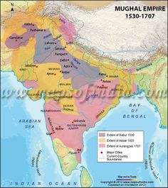 The decline of the Mughal empire and Indian disunity contributed to British success. Agents of the British East India Company were drawn into local wars as the Mughal empire disintegrated during the eighteenth century. India World Map, India Map, India Poster, History Of India, Ancient History, Geography Map, India Facts, East India Company, Mughal Empire