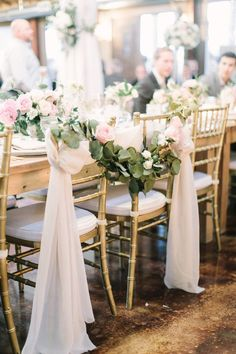 chair decor - bride + groom chairs with greenery garland and pink ribbon {Query Events} Wedding Chair Decorations, Rustic Wedding Centerpieces, Wedding Chairs, Church Decorations, Wedding Table, Rustic Wedding Photos, Rustic Wedding Venues, Wedding Ceremony, Chic Wedding